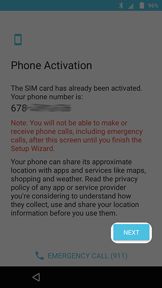 Phone activation