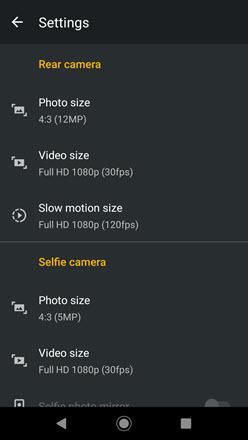 Camera Settings options