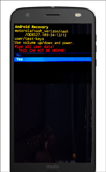 Android system recovery screen with Yes/No confirmation present
