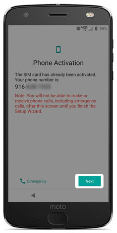 Phone activation page