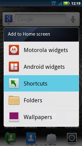 Agregar a pantalla de inicio, opciones disponibles
