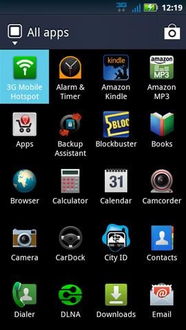 Pestaña de aplicaciones con hotspot móvil 3G