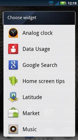 Selecciona widget