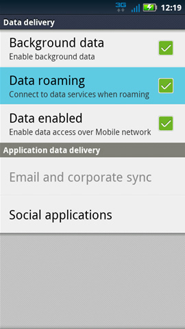 Data Delivery with Data roaming
