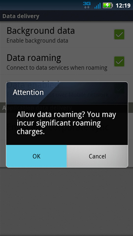 Data roaming charges con OK
