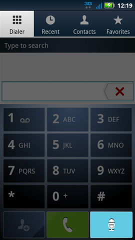 Dialer tab with voice dial symbol