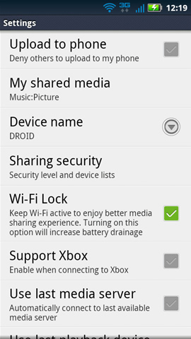 DLNA settings
