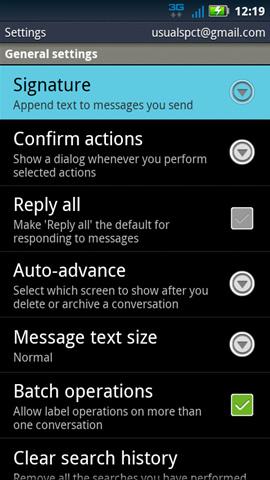 Gmail settings con opción Signature