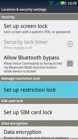 Location & Security settings with Set up restriction lock