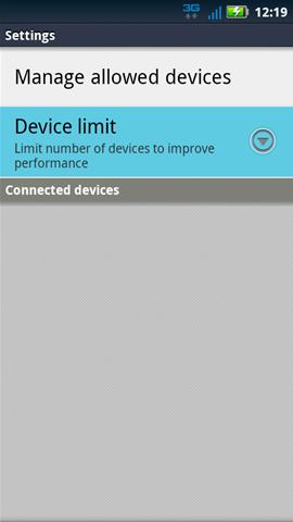 Settings with Device limit