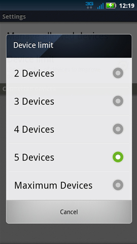 Device limit with available options