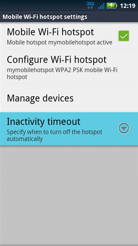 Mobile Wi-Fi hotspot settings with Inactivity timeout