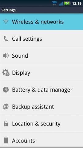 Settings con opción Wireless & networks