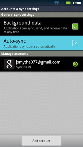 Accounts & sync settings screen, Auto-sync
