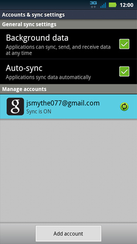 Accounts & sync settings screen, Google account