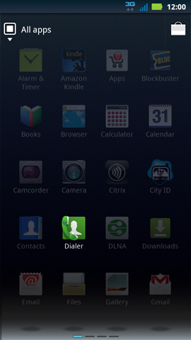 Applications menu with Dialer