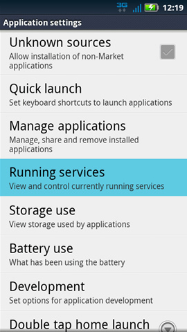 Application settings with Running services