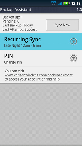 Backup Assistant with Recurring Sync