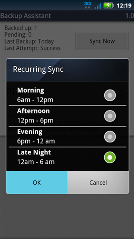 Recurring sync with available options and OK
