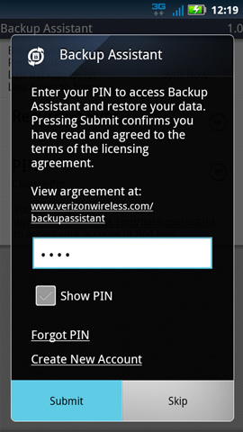 Backup Assistant con PIN y Submit