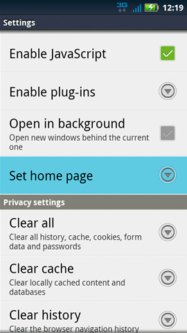 Browser Settings with Set home page