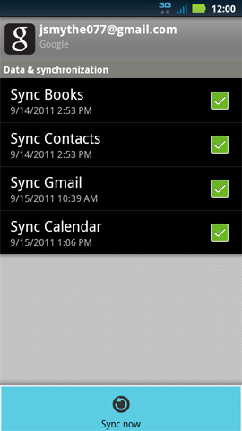 Data & synchronization screen menu, Sync now