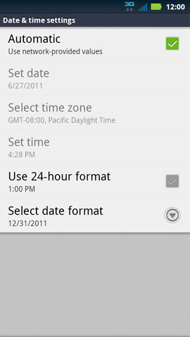 Use network provided date & time