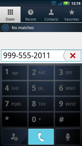 Dialer tab with the last number dialed and phone symbol