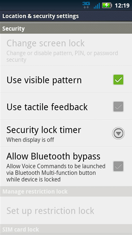 Location & Security settings with Security options