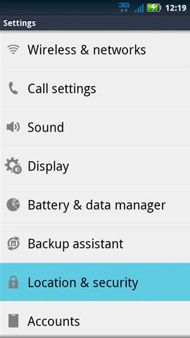 Settings y Location & Security