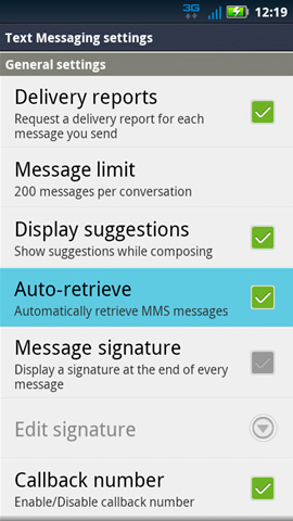 Text Messaging settings with Auto-retrieve