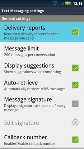 Text messaging settings with Delivery reports