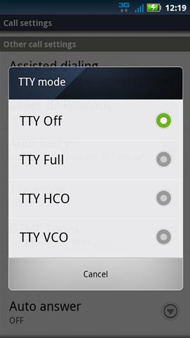 TTY mode con opción de configuraciones disponibles
