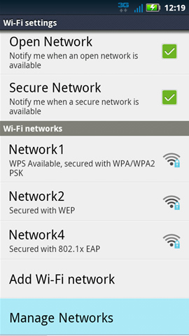 Wi-Fi settings y Manage Networks