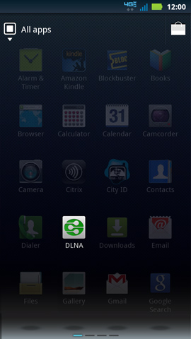 Applications tab with DLNA