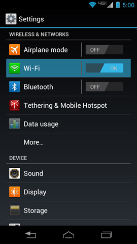 Settings with Wi-Fi