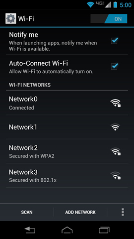 Wi-Fi with available networks list