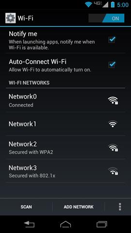 Wi-Fi con la lista de redes disponibles