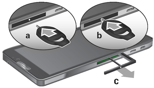 Using the Card Insertion / Removal Tool to remove the SIM card tray