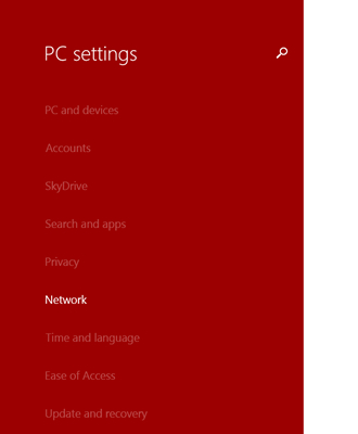 PC settings with Network