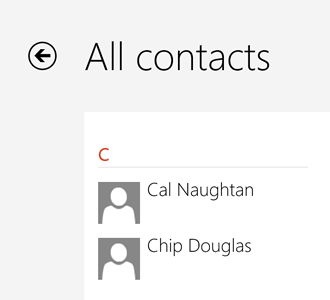 All contacts screen