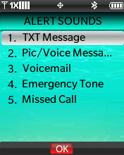 Alert Sounds menu with focus on selecting TXT Message