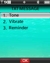 TXT Message Alert menu with focus on selecting Tone