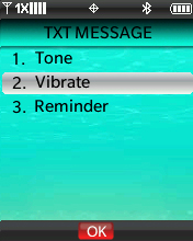 TXT Message Alert menu with focus on selecting Vibrate