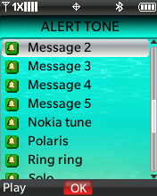 Alert Tones screen