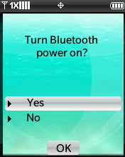 Bluetooth Options menu with focus on selecting Discovery Mode