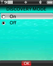 Bluetooth Discovery Mode screen