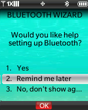Bluetooth Wizard with focus on selecting Remind me later