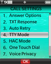Call Settings menu with focus on selecting TTY Mode