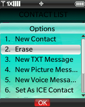 Contact options menu with focus on selecting Erase
